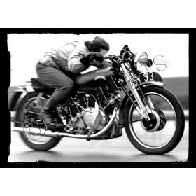 Classic Vincent Motorcycle, Flat Out - A3 Poster / Print