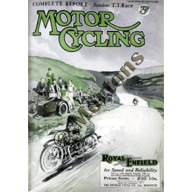 Motor Cycling Cover Junior TT 16 June 1926 - A3 Poster / Print