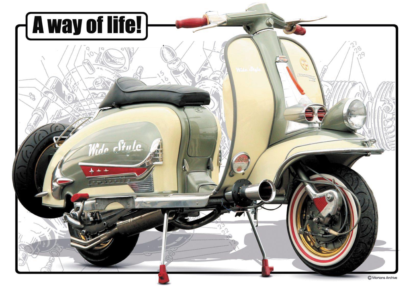 A3 poster of a Lambretta classic scooter - D