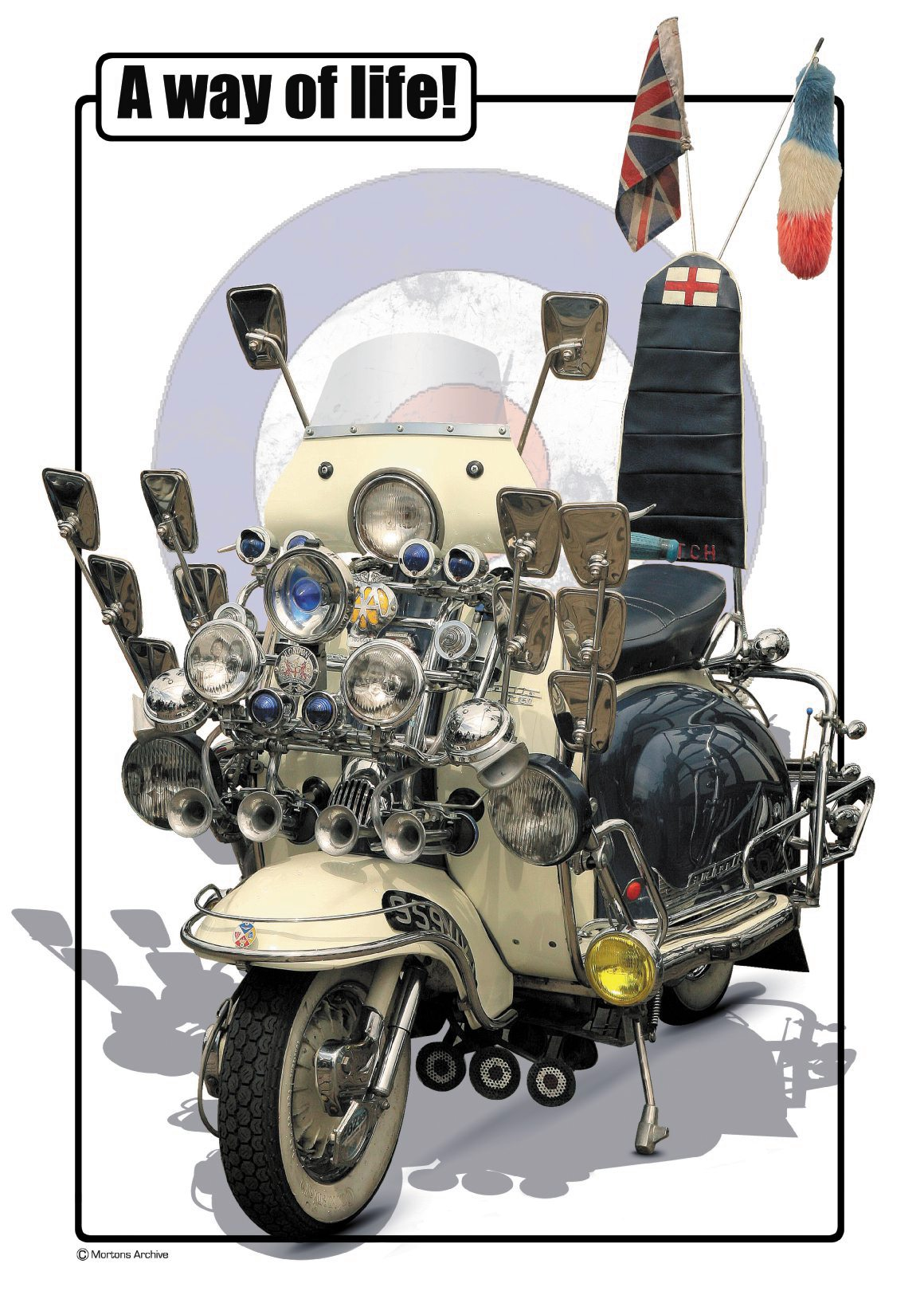 A3 poster of a Lambretta classic mod scooter - I