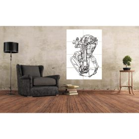 Manx Norton Engine Line Drawing Large Wall Art A0 (A3x8) Poster Print
