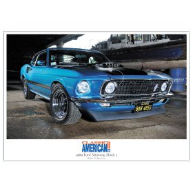 American Car 3 x A4 Print Pack: 1971 Oldsmobile 444 + 1968 Plymouth Hemi Road Runner + 1969 Ford Mustang Mach 1