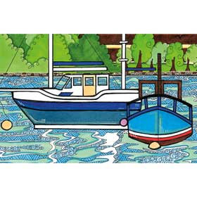 Calming Art - Catherine Gray - Print - Boats A3 Print