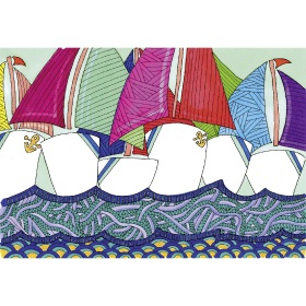 Calming Art - Catherine Gray - Print - Saling Boats - A3 Print