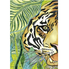 Calming Art - Catherine Gray - Print - Tiger - A3 Print