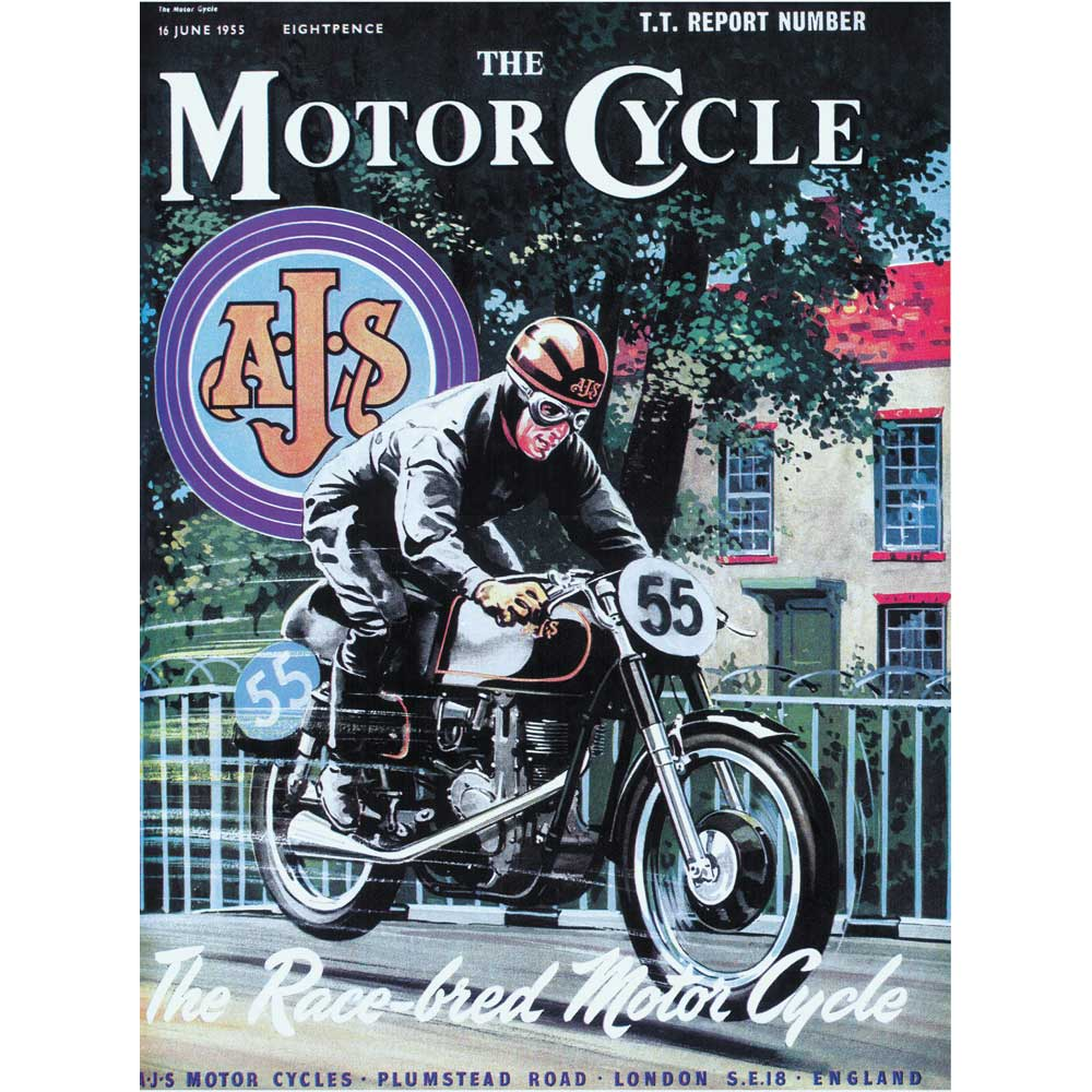 The MotorCycle Poster: AJS The Race-bred Motor Cycle - A2 Poster / Print
