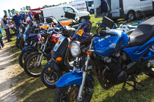 Netley Marsh Eurojumble - the UK's biggest bike autojumble - row of bikes and scooters for sale