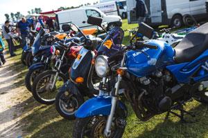 Netley Marsh Eurojumble - the UK's biggest bike autojumble - row of bikes and scooters for sale