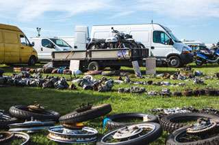 Netley Marsh Eurojumble - the UK's biggest bike autojumble - motorcycle wheels, engines and items for sale