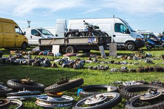 Netley Marsh Eurojumble - the UK's biggest bike autojumble - motorcycle wheels, engines and items for sale